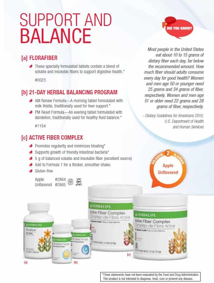18 - Herbalife Florafiber, Herbalife 21day balacing program and Herbalife Active Fiber Complex
