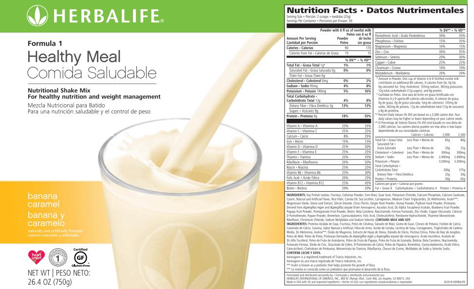 batido Herbalife Datos Nutrimentales - banana y caramelo