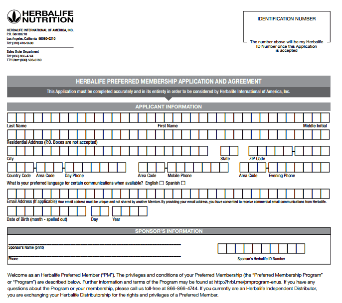Herbalife Preferred Membership Application And Agreement Order