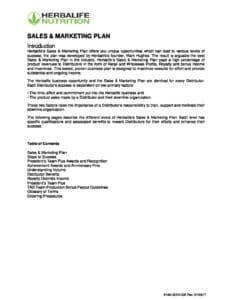 Herbalife - Sales and Marketing Plan– Order Herbalife