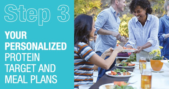 STEP 3 - Your personalized protein target and meal plans